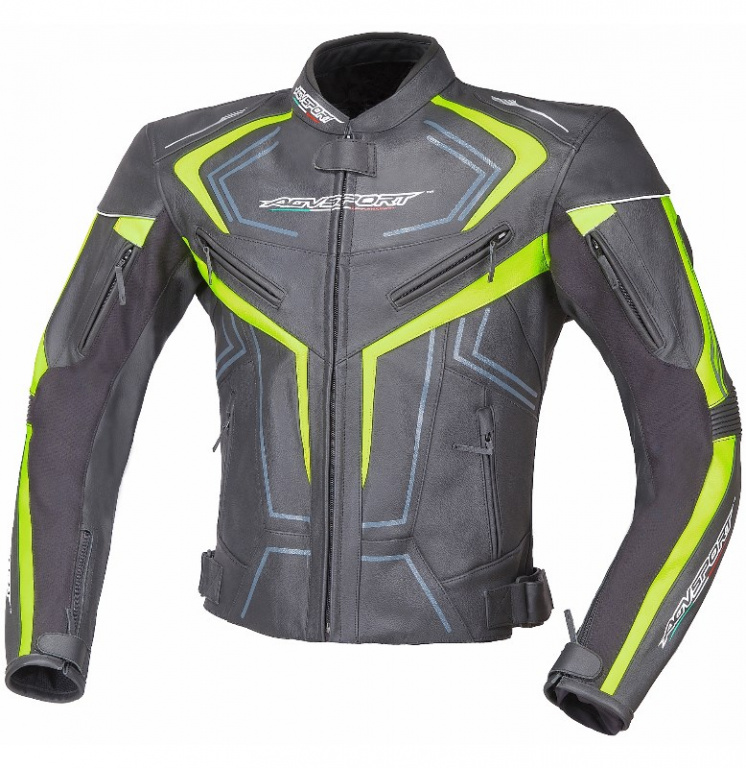 4c23fc0e3ed Кожаная мото куртка AGVSport Katana флюресцентно-желтая от магазина ...