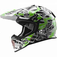 Кроссовый шлем LS2 MX437 Fast Glitch White Black Green